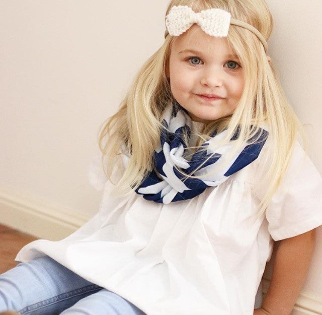 Stylish HEARTS Pale Denim 3 Piece Bow SET - Pale Denim & White