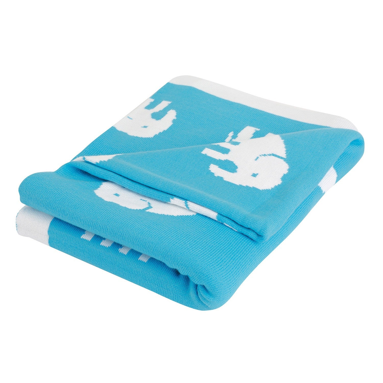 Baby & Toddler Elephant Blanket – Beautiful Blue & White