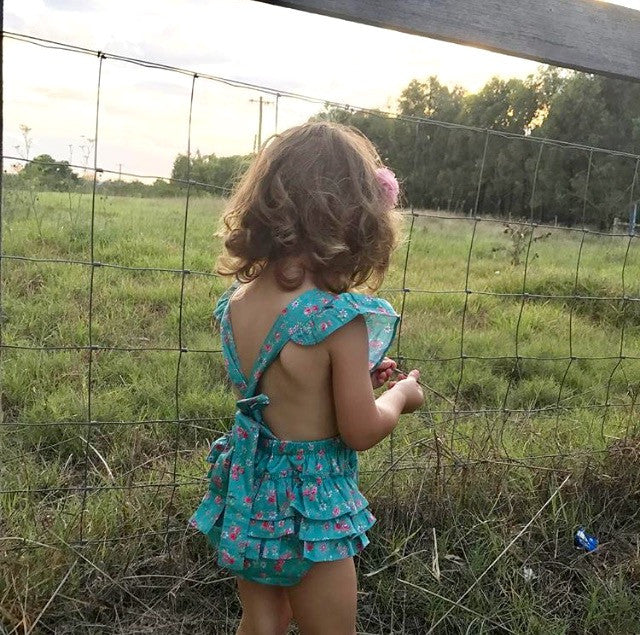 Unique, Boutique Toddler Girls Playsuit, Floral Print, 100% Cotton, designed in Australia