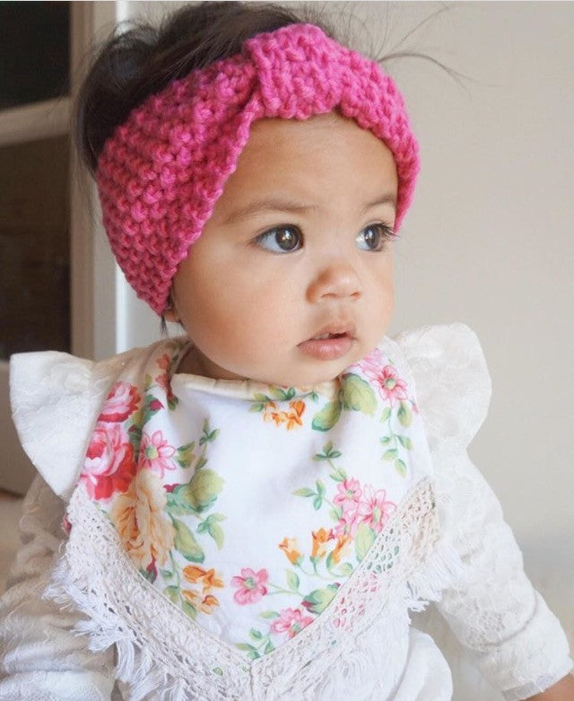 Knitted Top Knot - Pretty In Pink