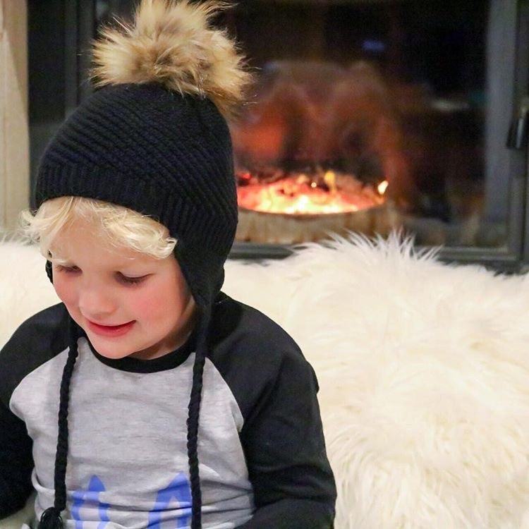 Toddler Boys Beanie, black in colour, with pom pom, 100% cotton, made in Australia, Limited Edition