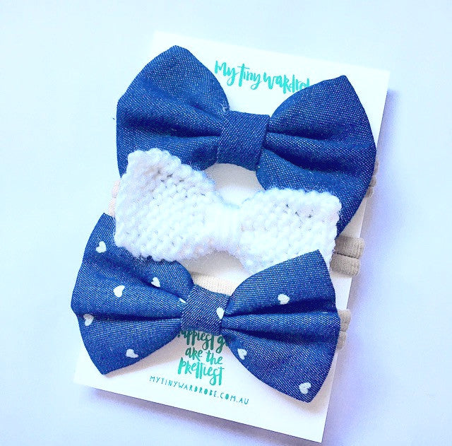 Stylish HEARTS Dark Denim 3 Piece Bow SET - Dark Denim & White