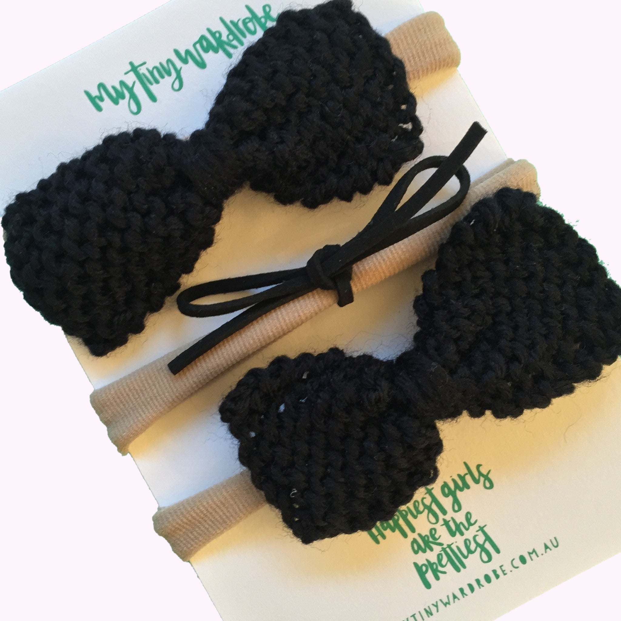 Classic Knitted 3 Piece Bow SET - Black