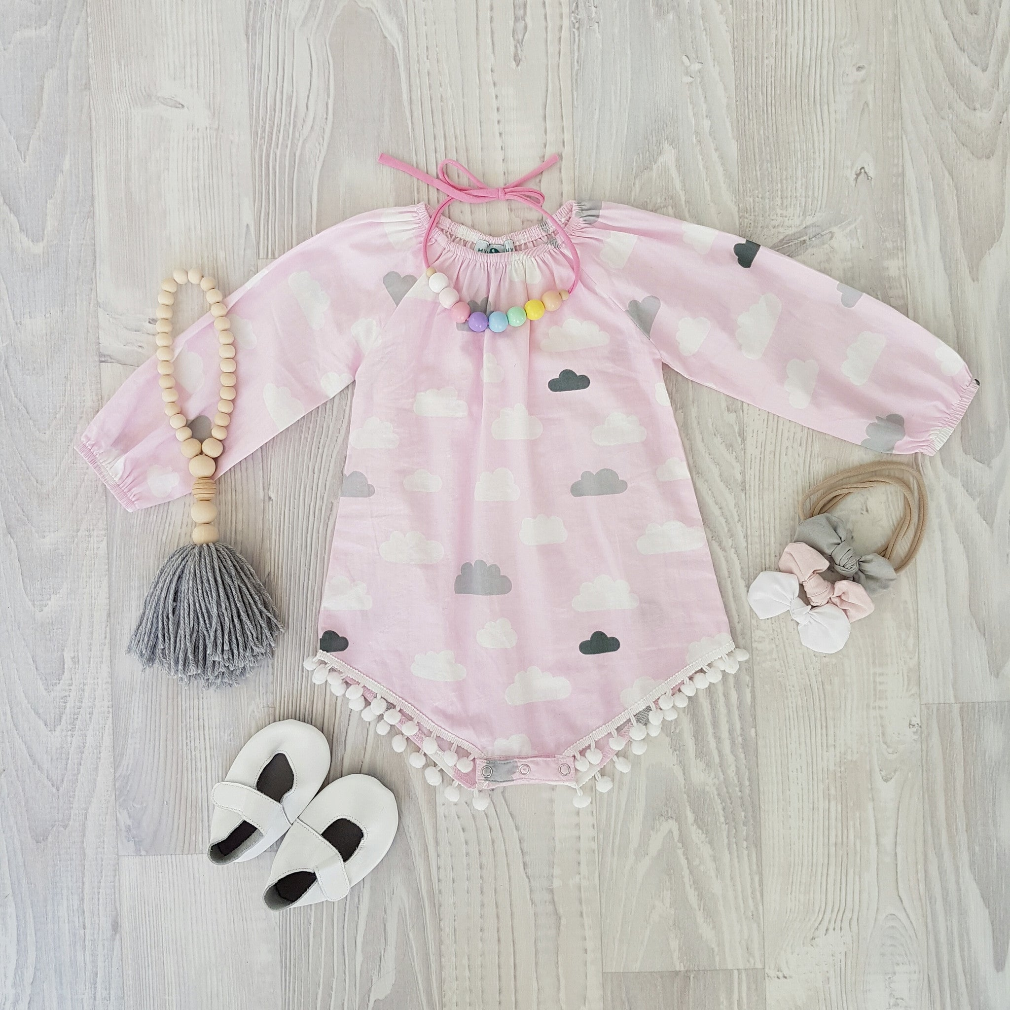 Long Sleeve Playsuit 'Pink Clouds'