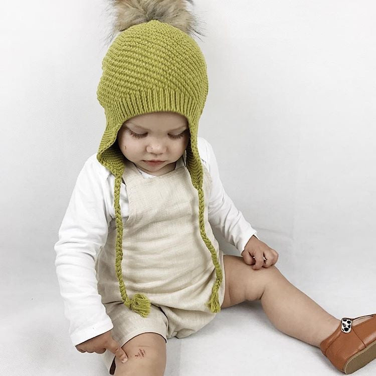 Boy & Girl Baby & Toddler Knit Beanie - Olive Colour, Made in Australia, 100% Cotton, Boutique Brand