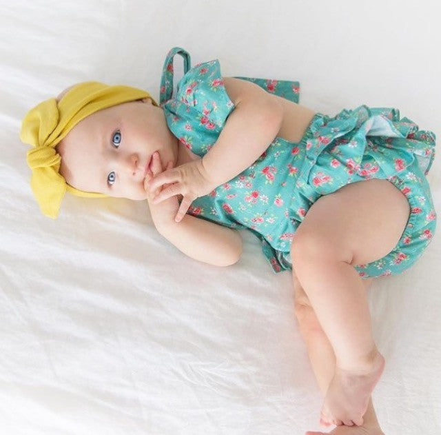 Unique and Trendy Baby Girl Playsuit, with a Floral Print, Designed in Australia