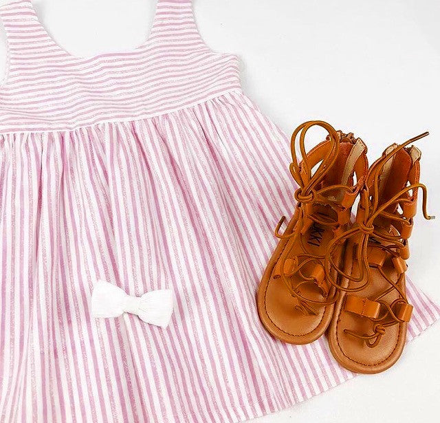 Limited Edition Girls Dress, Stripes, Pink and White, Scallop Back and fully lined, Boutique Sydney Kids shop