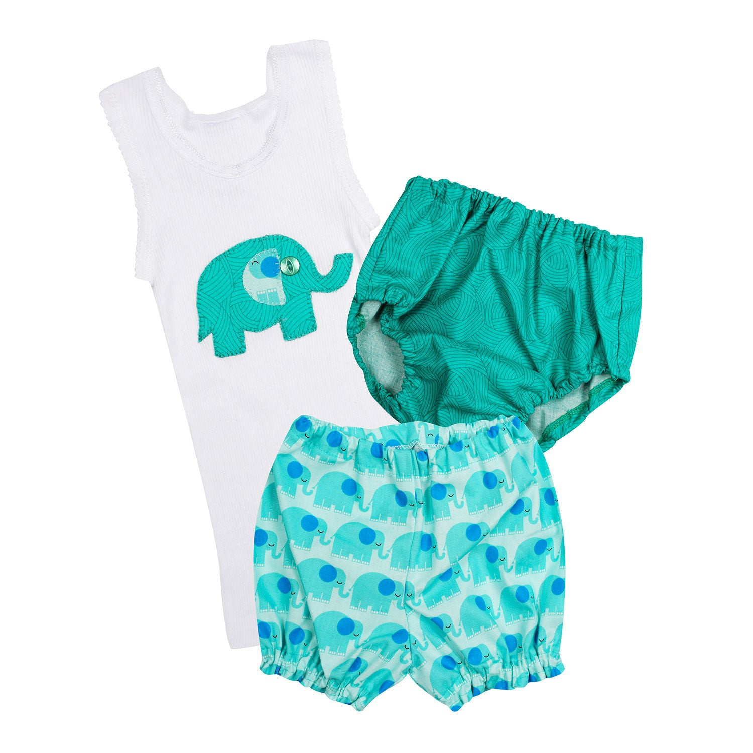 Baby Elephant 3 piece Set - Singlet, Bloomer and Diaper Cover