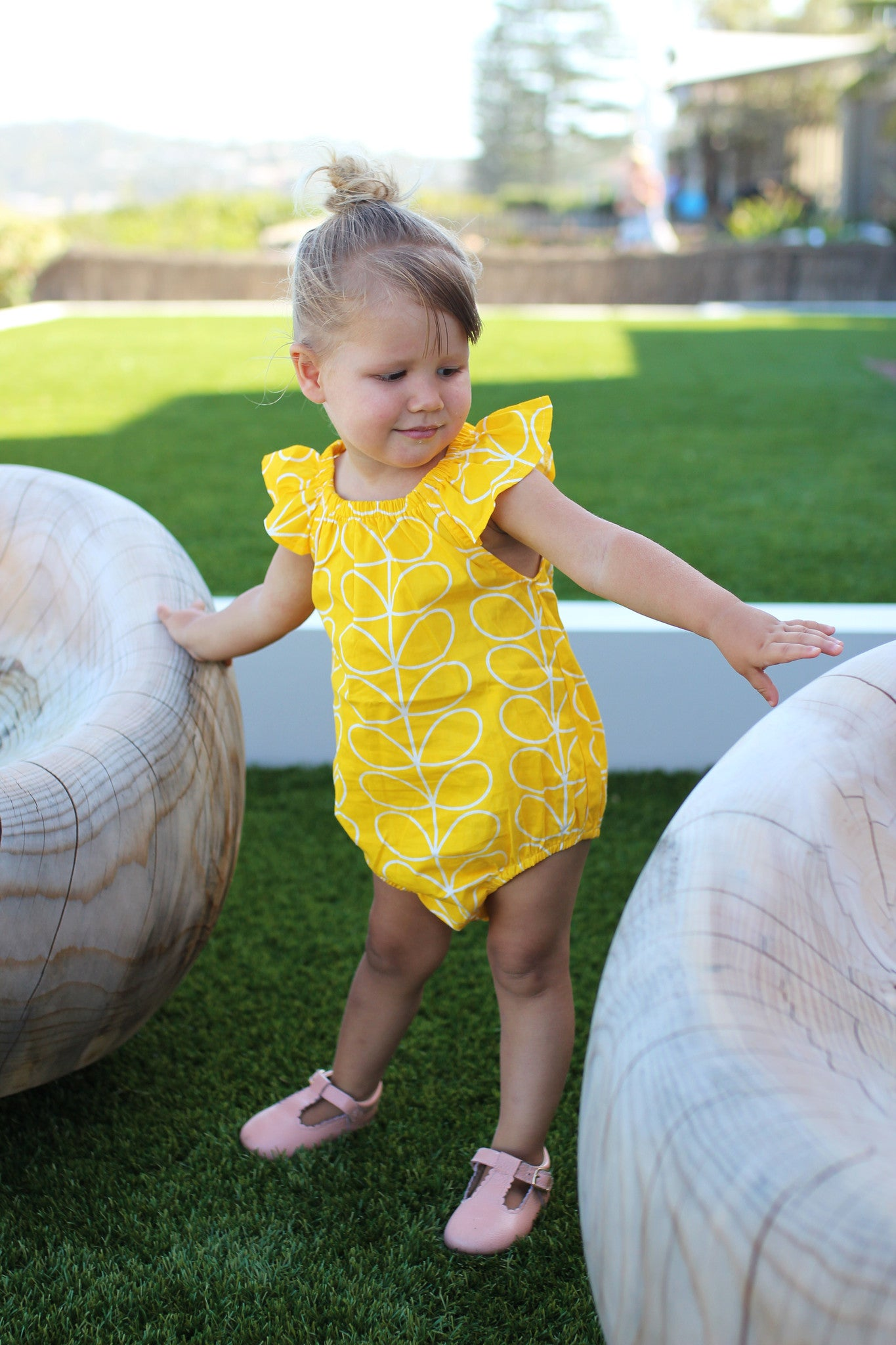 Boutique Girls Romper, Yellow and White Colour, 100% Cotton, Handmade in Sydney