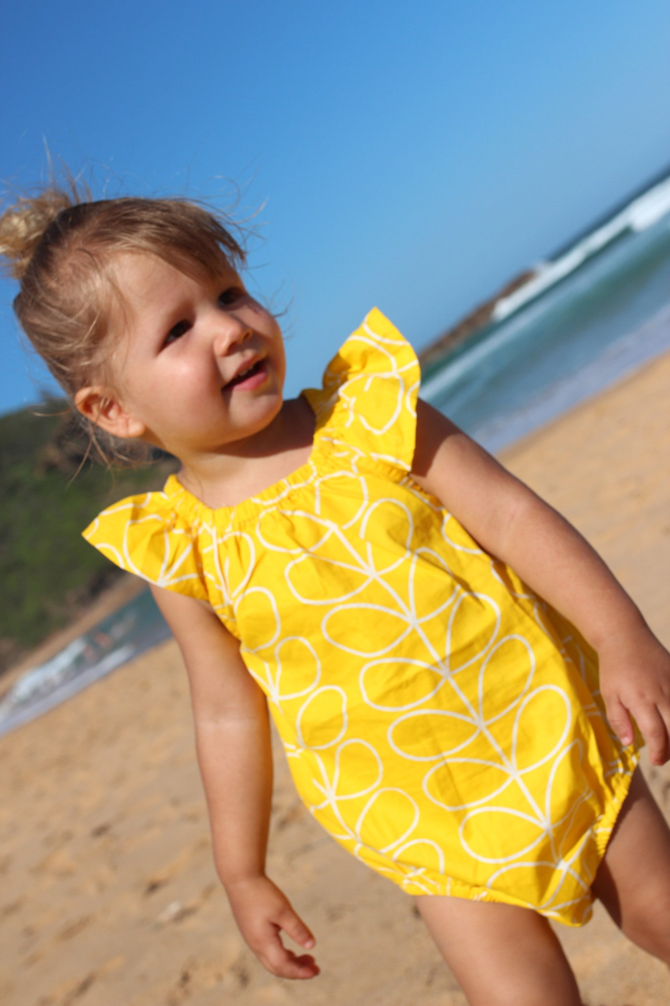 Boutique Girls Romper, Yellow and White Colour, 100% Cotton, Handmade in Australia