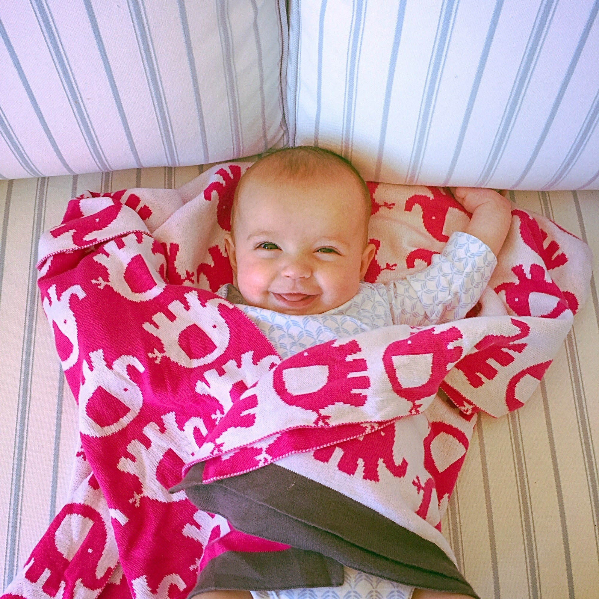 Soft Cotton Dark Pink Baby Elephant Blanket - Trendy