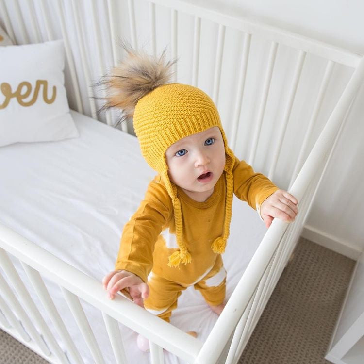 Unisex Beanie, Mustard in Colour, 100% Cotton, Made in Australia
