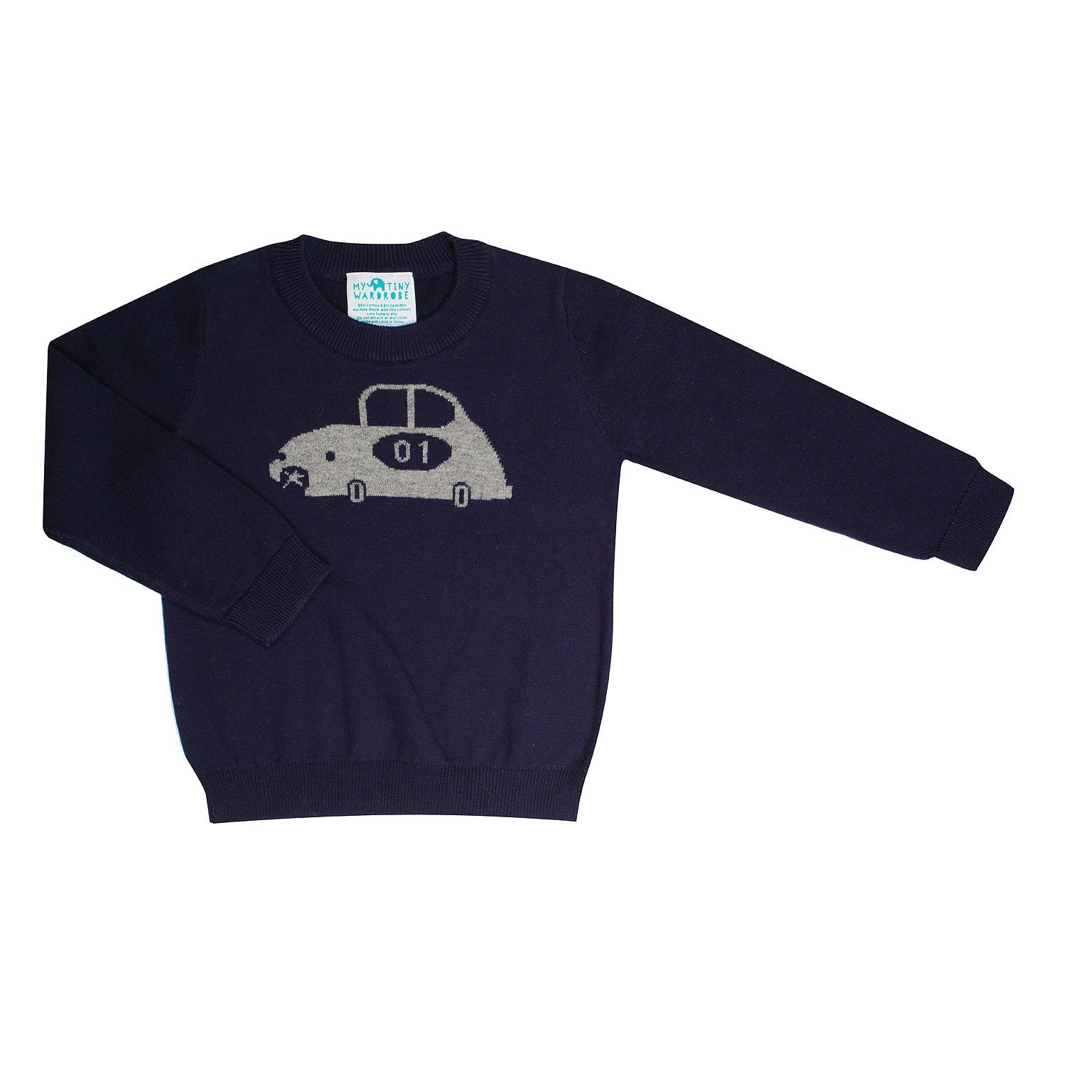 Toddler Boys Navy Blue Jumper, with Car Print - Limited Edition