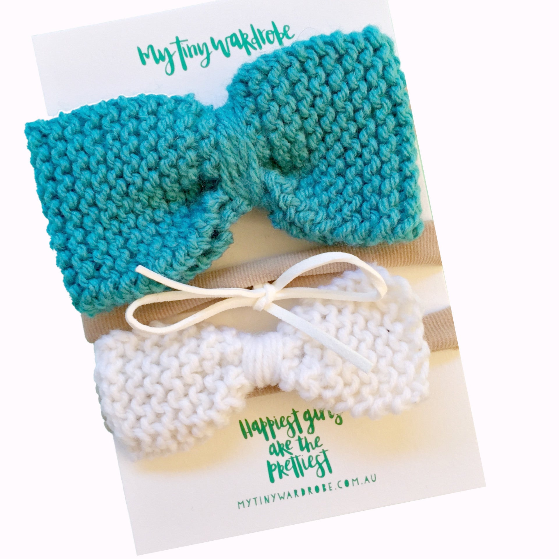 Classic Knitted 3 piece Bow SET - Teal & White