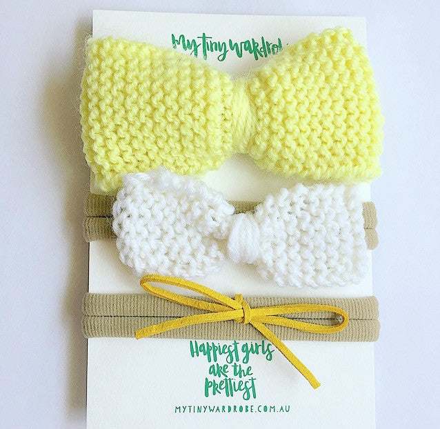 Classic Knitted 3 Piece Bow SET - Lemon & White