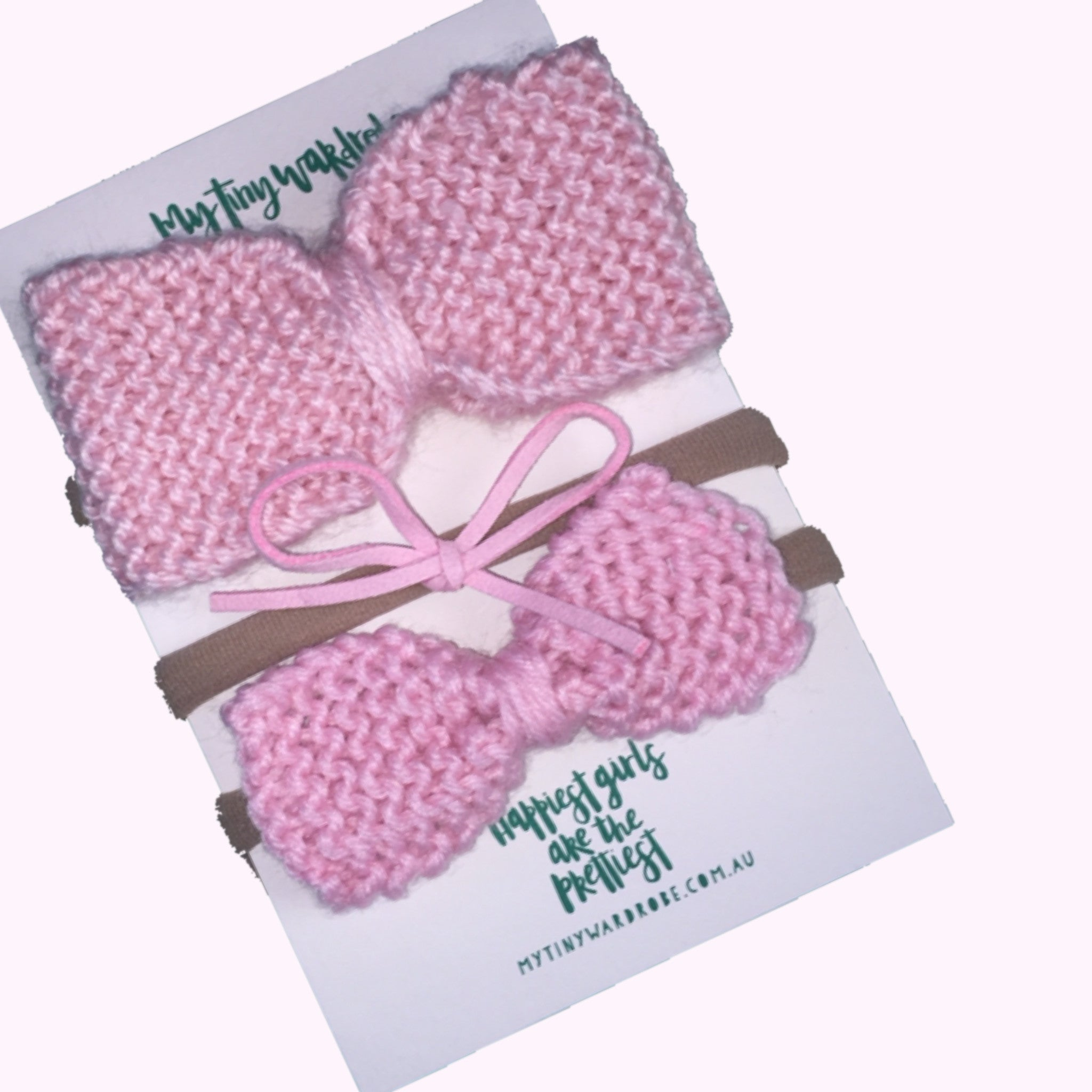 Classic Knitted 3 Piece Bow Set - Pale Pinks