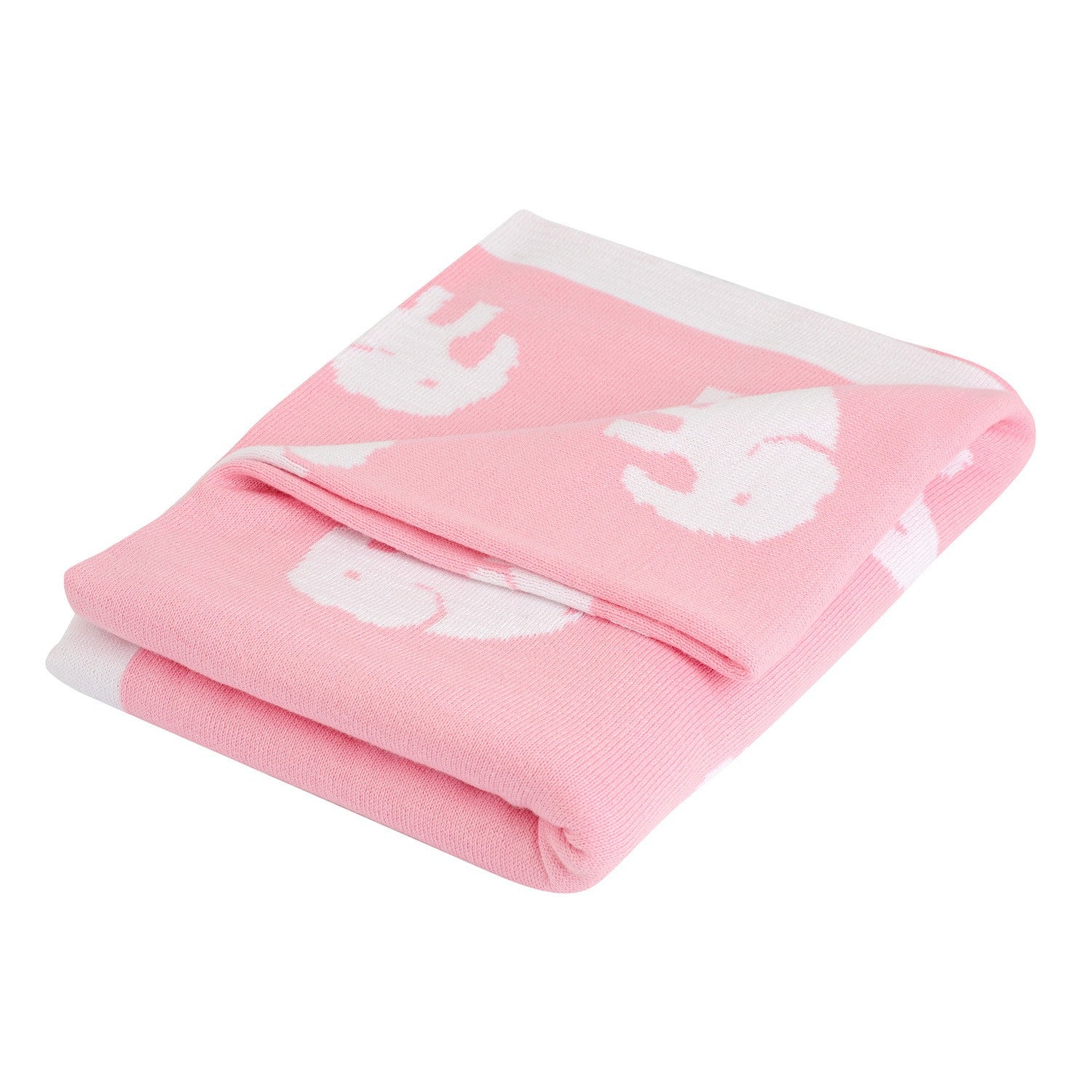 Baby & Toddler Elephant Blanket – Pretty in Pale Pink & White