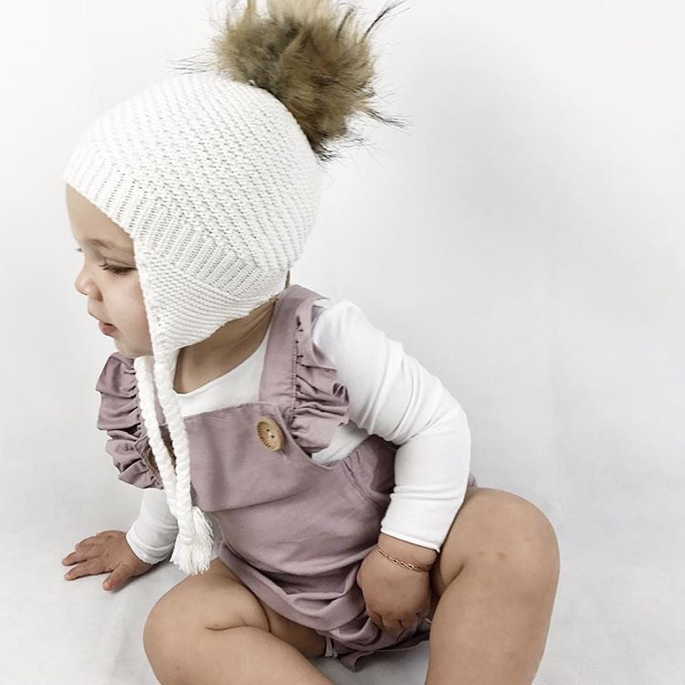 Trendy Baby Girls Beanie with Faux Fur Pom Pom, 100% Cotton, Made in Australia