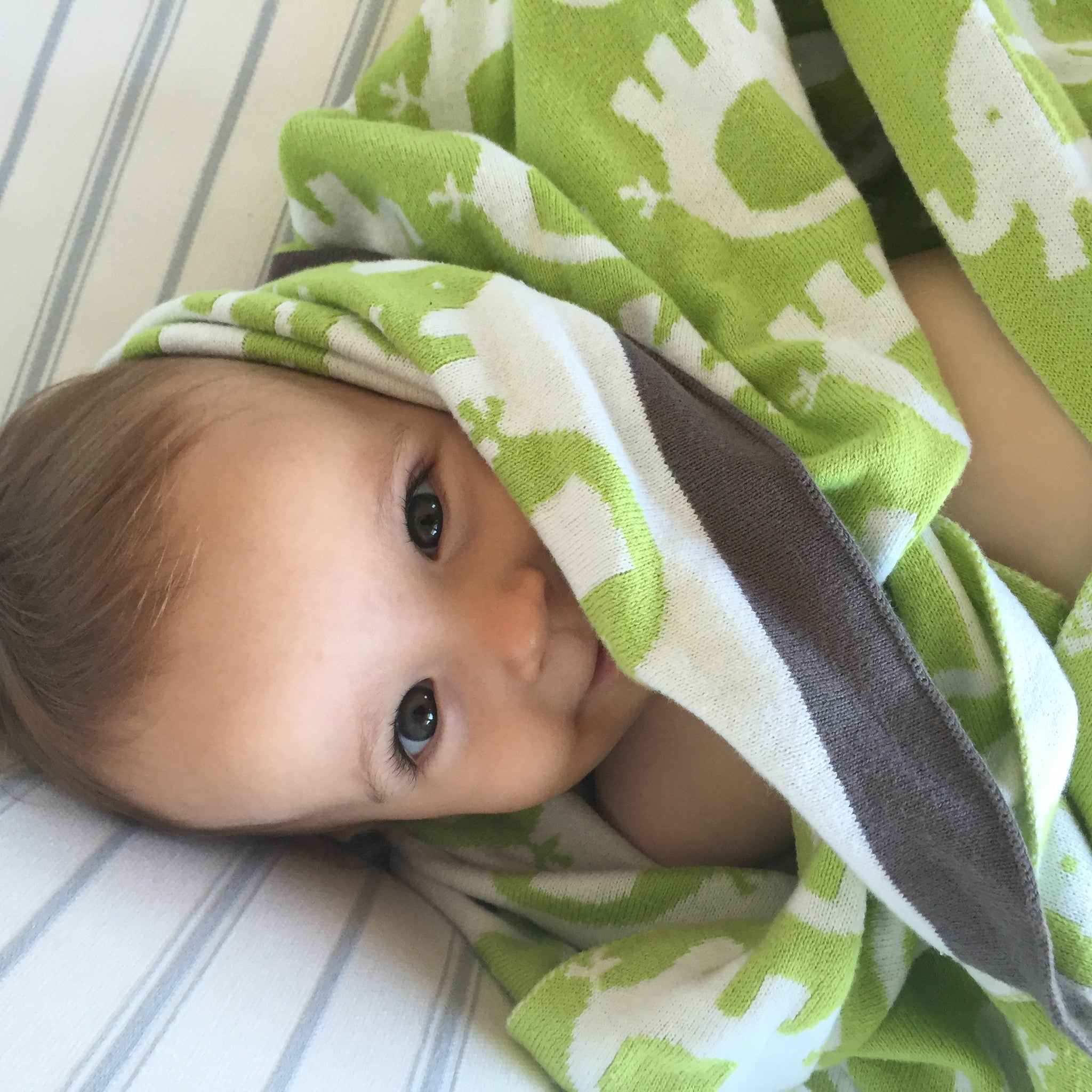 Baby Elephant Blanket – Gorgeous Green & White