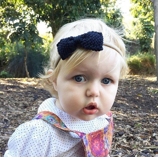Trendy Knitted Toddler Bows - Knitted In Australia