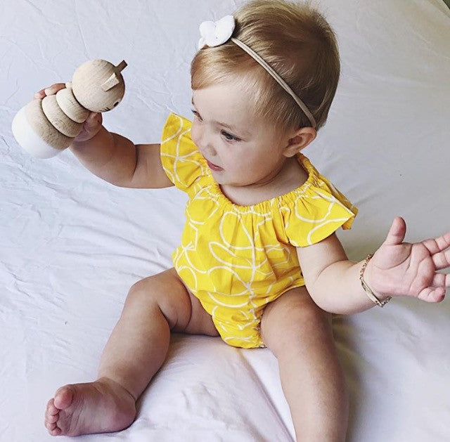 Newborn Romper/Playsuit, Colour Yellow, Handmade in Sydney