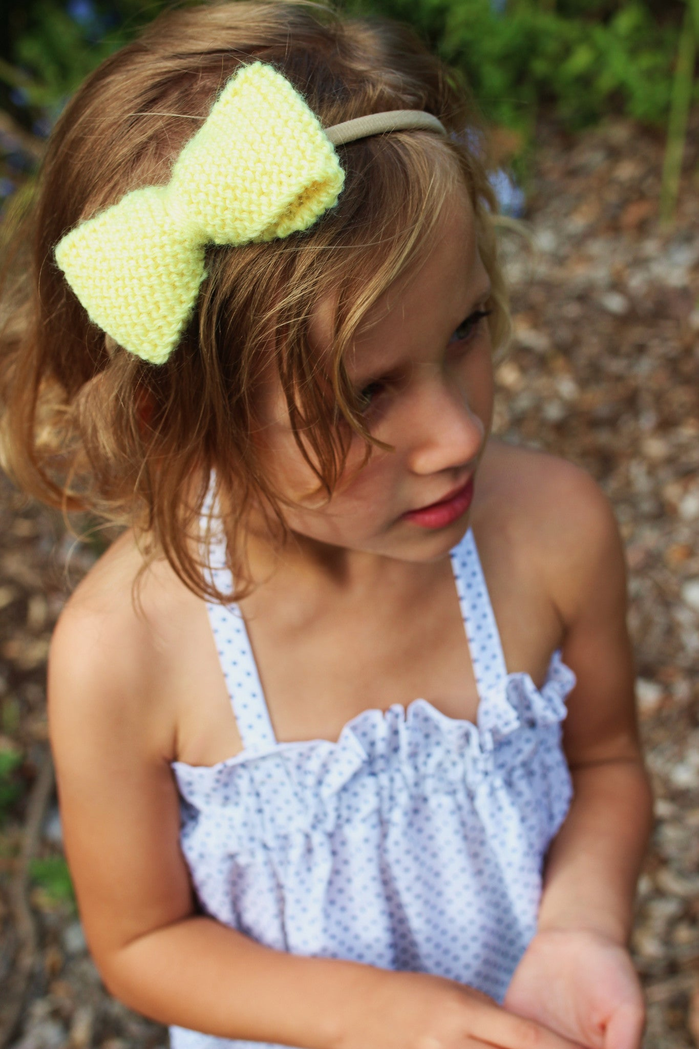 Girls Unique Bow Set - Lemon in Colour - Knitted in Australia