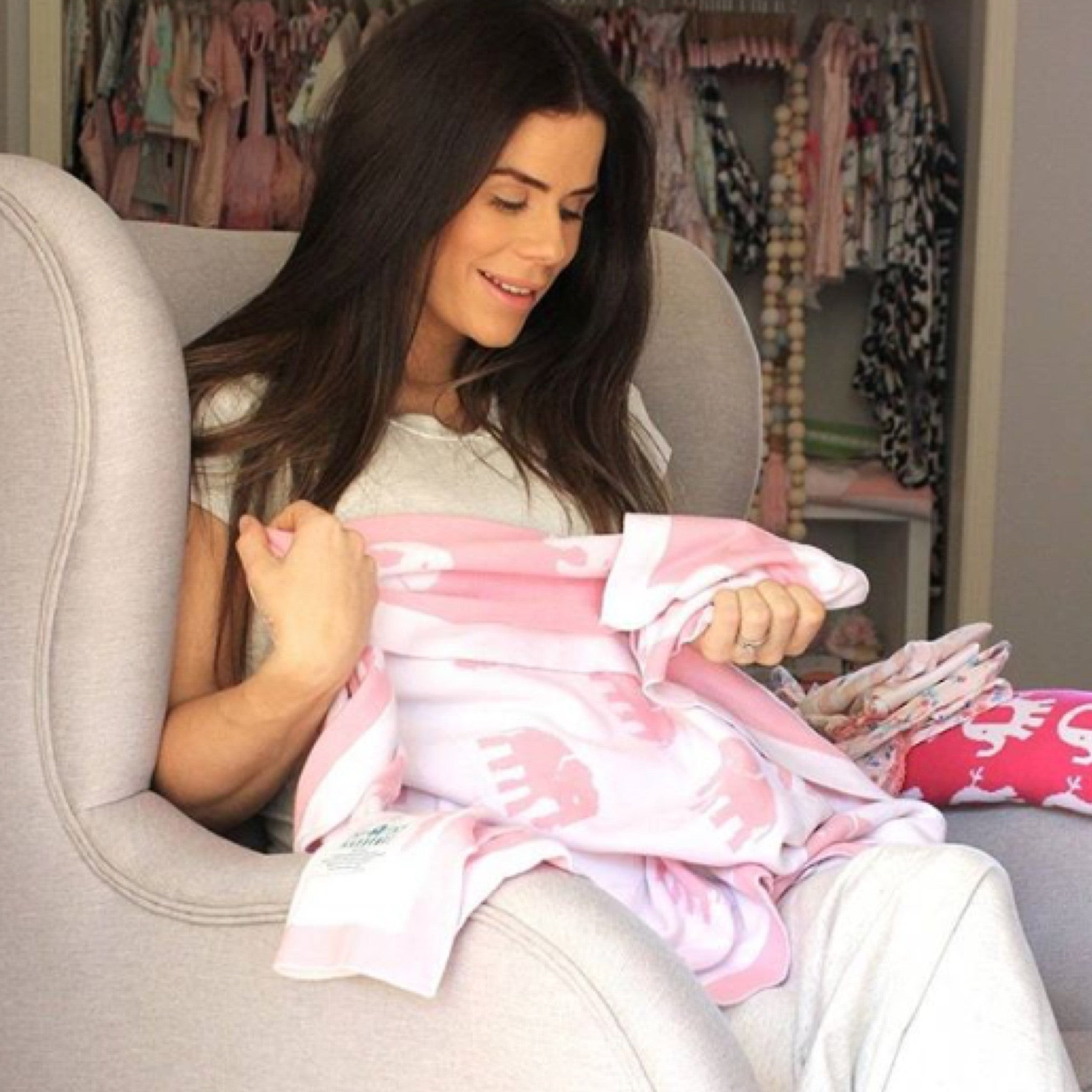 Sophie Guidolin modelling our gorgeous pink baby blanket