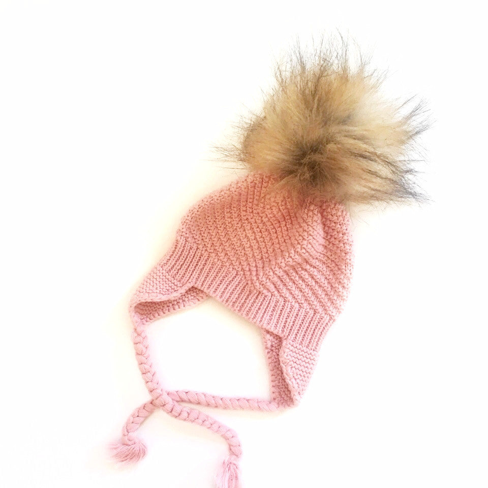 Pink Beanie - 100% Cotton, with a Pom Pom, Made In Australia