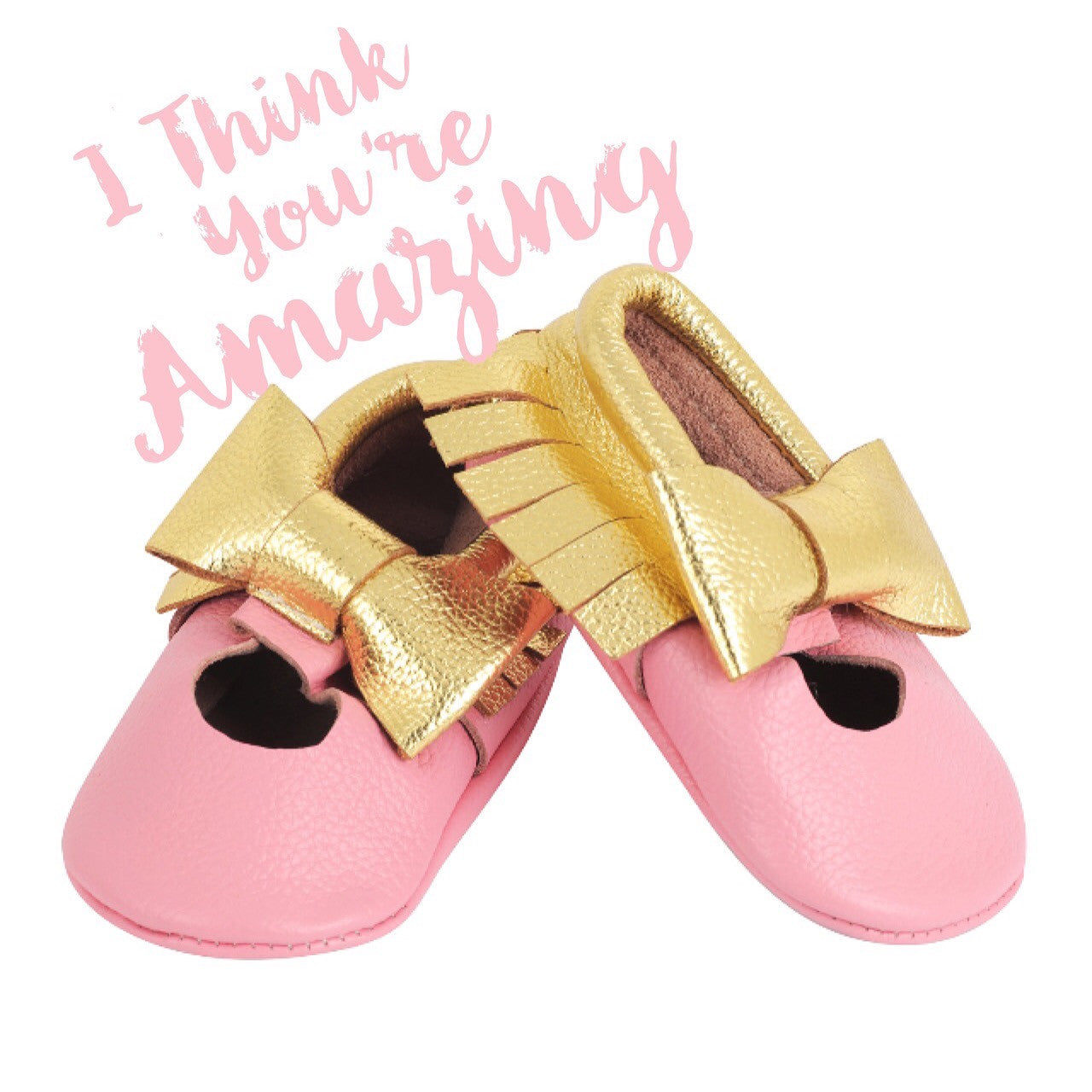 Moccasins – Pink with a Gold Bow