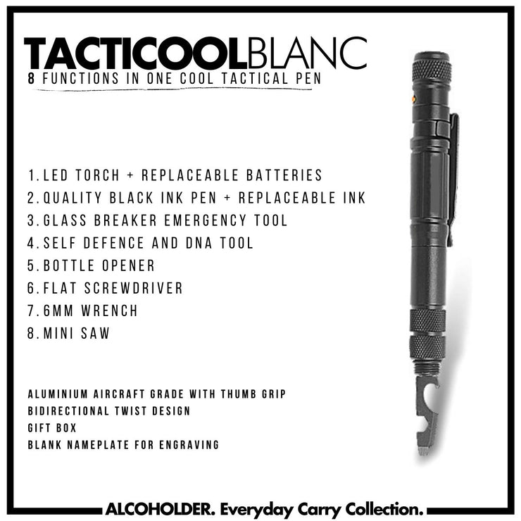 "Tacticool ""Blanc"" - The Ultimate 8 in 1 Pen Tool"