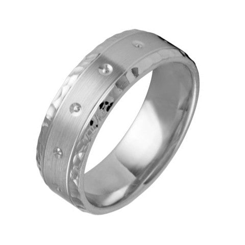 7 mm Comfort Fit Wedding Band with Diamonds Crafted in 14k White Gold