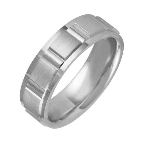 6.5 mm Comfort Fit Wedding Band Crafted in 14k White Gold