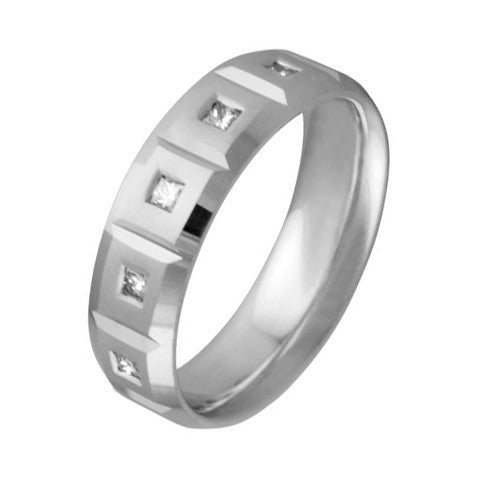 6.5 mm Comfort Fit Wedding Band with Diamonds Crafted in 14k White Gold