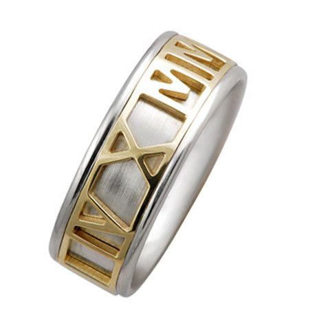 7 mm Comfort Fit Wedding Band Crafted in 14k Gold Two Tone