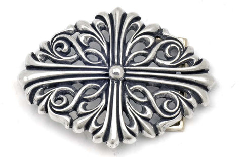 A&G ROCK AUTHENTIC LARGE ORNAMENTAL CROSS DESIGN BUCKLE STERLING SILVER