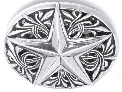 A&G ROCK AUTHENTIC LARGE OVAL ORNAMENTAL STAR DESIGN BUCKLE STERLING SILVER