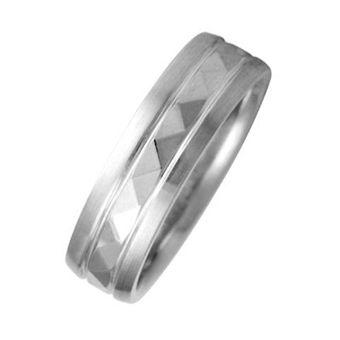 6 mm Comfort Fit Wedding Band Crafted in 14k White Gold