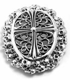 A&G ROCK AUTHENTIC MINI SKULLS & CROSS THEMED BUCKLE STERLING SILVER .925