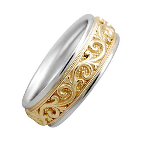 14k Two Tone Gold 7 mm Comfort Fit Wedding Band with Carved Filigree Design