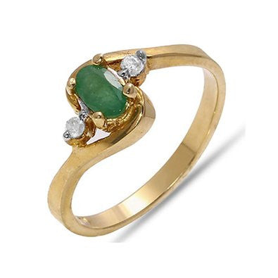 Fine 0.32 TCW Oval Cut Emerald & Diamond Ring in 10k Solid Yellow Gold