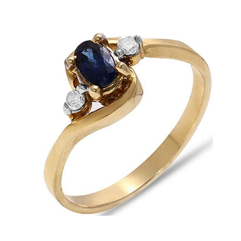 Fine 0.32 TCW Oval Cut Blue Sapphire & Diamond Ring in 10k Solid Yellow Gold