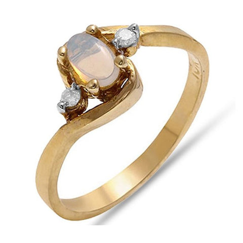 Fine 0.32 TCW Oval Cut Opal & Diamond Ring in 10k Solid Yellow Gold