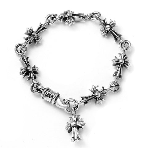 A&G Rock Ornamental Cross Charm Link Bracelet in Sterling Silver