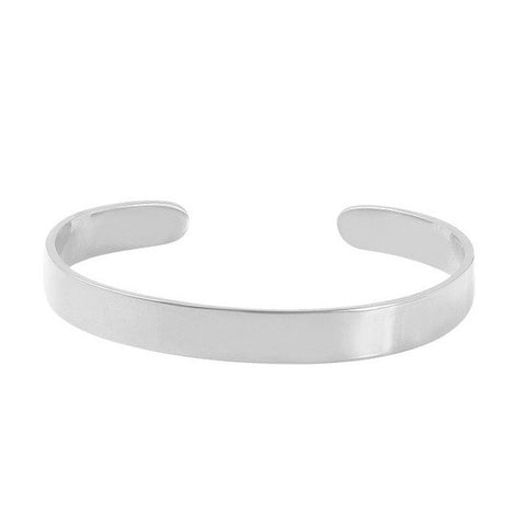Open Cuff Bangle Bracelet White Gold