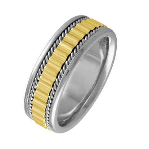 Men's 14k Two Tone Gold 7 mm Comfort Fit Wedding Band