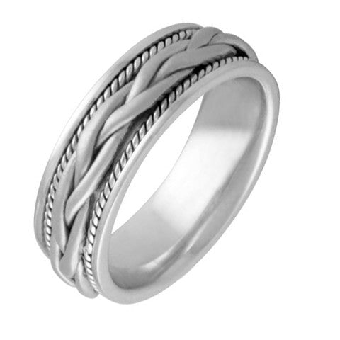 Mens 7 mm Comfort Fit Wedding Band Crafted in 14k White Gold