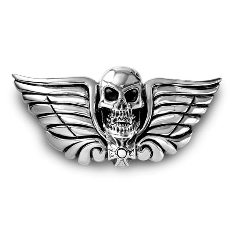 AL BERES SILVER SKULL HEAD With WINGS and a CROSS BELT BUCKLE