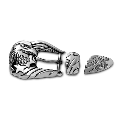 AL BERES SILVER FREEDOM EAGLE WITH AMERICAN FLAG STARS BELT BUCKLE