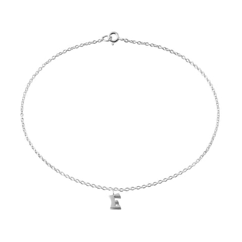 "Classic Sterling Silver ""E"" Initial Dangle Anklet"