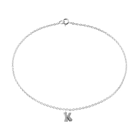 "Classic Sterling Silver ""K"" Initial Dangle Anklet"